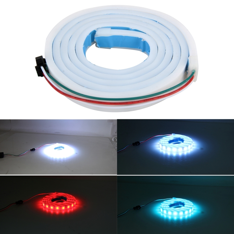 1.2m Car Auto Waterproof Universal Four Color Rear Flowing Light Tail Box Lights with Tail Light Controller, Ice Blue Light Driving Light, White Light Reversing Light, Red Light Brake Light, Yellow Light Turn Signal Light, LED Lamp Strip Tail Decoration