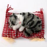 Lovely Simulation Animal Doll Plush Sleeping Cats Toy Cat Mat Doll Decorations Stuffed Toys Car Decoration Crafts, Mat 19*13cm, Cat 14*11cm