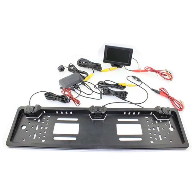 PZ600-L Europe Car License Plate Frame Rear View Camera Visual Rear View Parking System with 2 Reversing Radar Detector