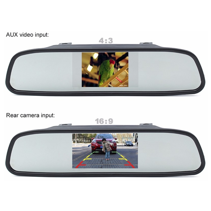 PZ603 Car Video Monitor HD Auto Parking LED Night Vision CCD Reverse Rear View Camera with 4.3 inch Car Rear View Mirror
