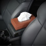 Universal Car Facial Tissue Box Case Holder Metal Frame Tissue Box Fashion and Simple Paper Napkin Bag (Brown)