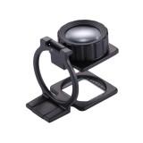 20X Foldable Metal Dual Lens Magnifier, Black Paint Desk Table Mount Magnifier