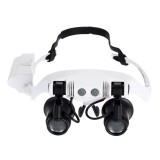 10X 15X 20X 25X Wearing Glasses Eyes Illuminated Magnifier Magnifying Watch Repairing Loupe With LED Light (White)