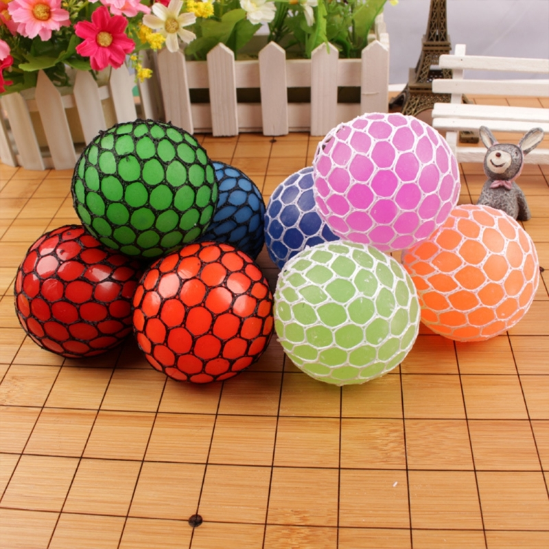 6cm Anti-Stress Face Reliever Grape Ball Extrusion Mood Squeeze Relief Healthy Funny Tricky Vent Toy (Magenta)