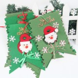 Christmas Scene Decoration Six Flag Non-woven Fabric Santa Hanging Flag (Green)