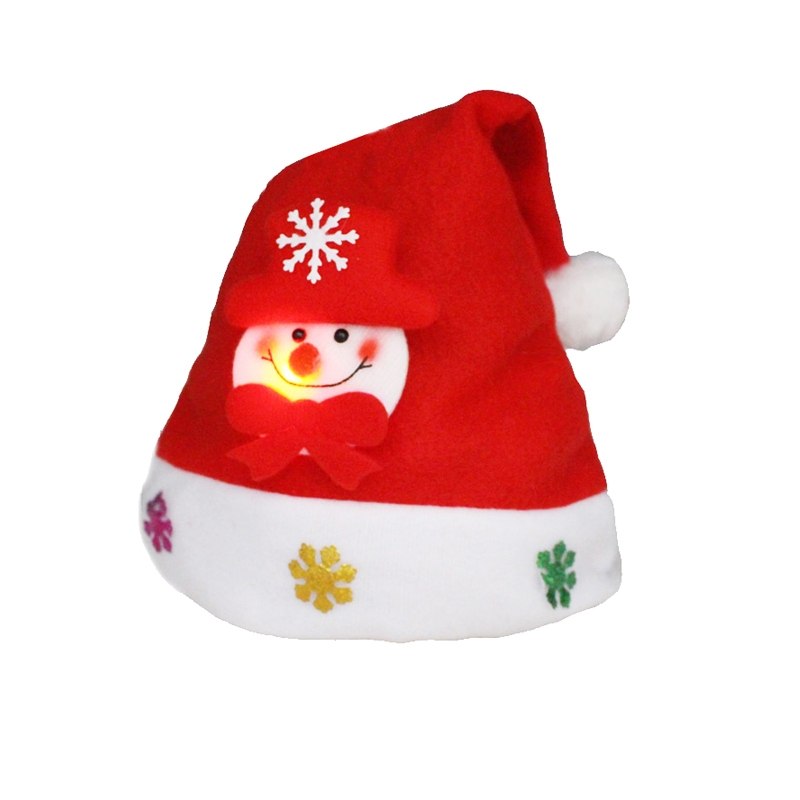 Christmas Decoration Napped Fabric Santa Hat Luminescent Adult Dressing Up Christmas Hat
