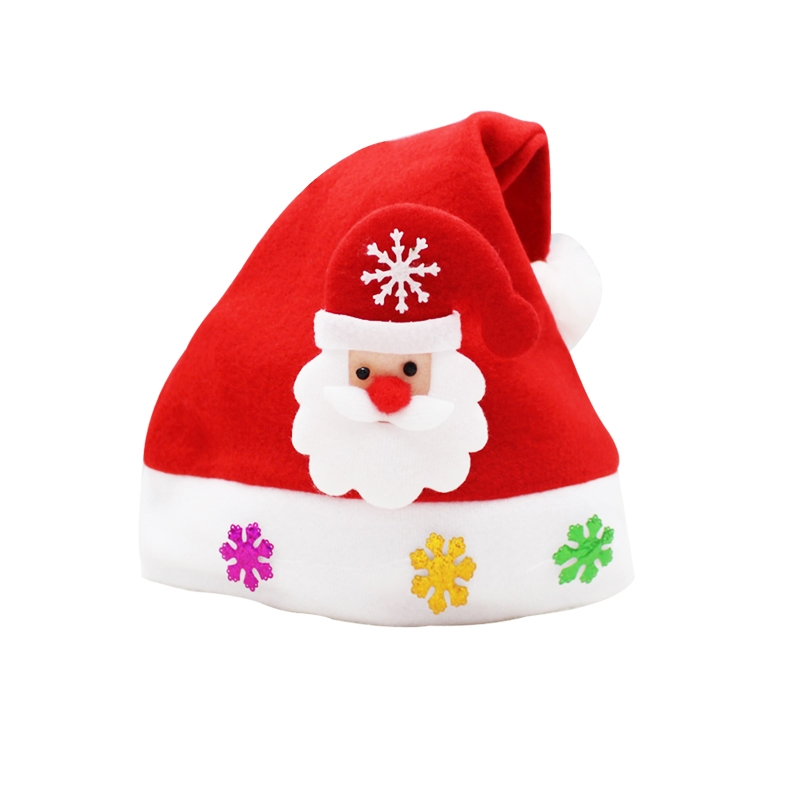 Christmas Decoration Napped Fabric Santa Hat Applique Pattern Adult Dressing Up Christmas Hat