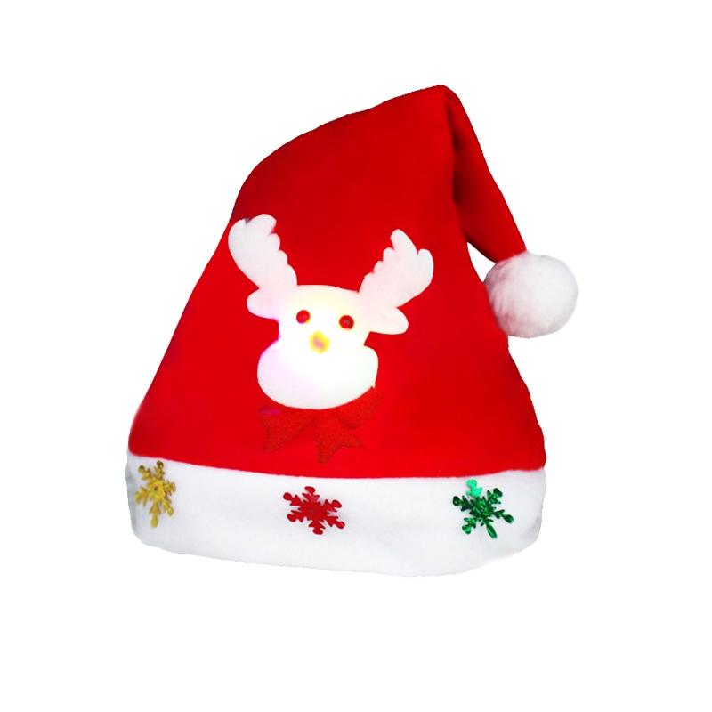 Christmas Decoration Napped Fabric Santa Hat Luminescent Children Dressing Up Christmas Hat