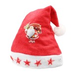 Christmas Decoration Napped Fabric Santa Hat Light Five-pointed Stars Pattern Children Dressing Up Christmas Hat