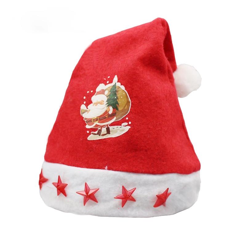 d17dcbd225c7e Christmas Decoration Napped Fabric Santa Hat Light Five-pointed ...