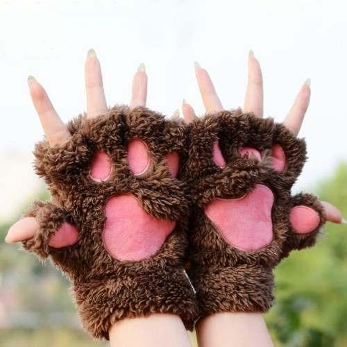 Winter Lovely Cartoon Cat Claw Lady Gloves Thick Warm Fluffy Paws Half Finger Gloves (Coffee)