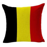 Belgium National Flag Pattern Cotton Linen Pillow Case, 45*45cm
