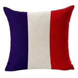 French National Flag Pattern Cotton Linen Pillow Case, 45*45cm