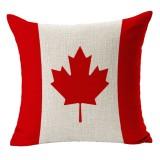 Canada National Flag Pattern Cotton Linen Pillow Case, 45*45cm