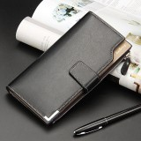 Baellerry Men Long Wallet New Style Young Fashion Hand Bag Wallet (Black)