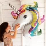 88*108cm Giant Rainbow Unicorn Party Supplies Foil Balloons Kids Cartoon Animal Horse Birthday Party Decorations