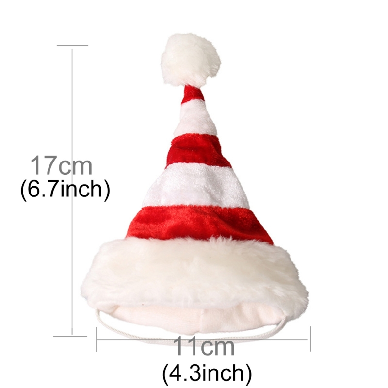 Western Red and White Striped Pet Dog Christmas Hat, Comfortable Children Dressing Up Christmas Hat (Red)