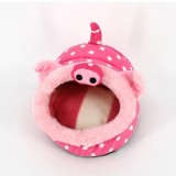 Lovely Mini Pink Pig Shape Guinea Pig Pet Beds, Comfortable Spider Hamster Cotton Pet House, S, 19*17*13 cm