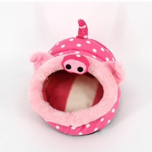 Lovely Mini Pink Pig Shape Guinea Pig Pet Beds, Comfortable Spider Hamster Cotton Pet House, S, 19*17*13 cm