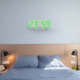 Multi-Function Large 3D LED Digital Wall Alarm Clock with Snooze Function, 12/24 Hours Display for Home, Kitchen, Office, DC 5V, CE Certificated (Green)