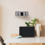 Multi-Function Large 3D LED Digital Wall Alarm Clock with Snooze Function, 12/24 Hours Display for Home, Kitchen, Office, DC 5V, CE Certificated (White)