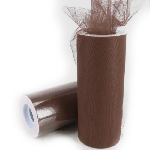 Fashion Tulle Roll 20D Polyester Wedding Birthday Decoration Decorative Crafts Supplies, 160cm x 25cm (Brown)