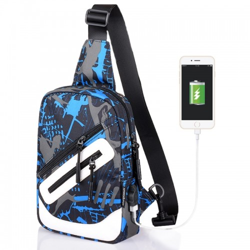Multi-Function Portable Casual Canvas Blue and Grey Graffiti Chest Bag Outdoor Sports Shoulder Bag with External USB Charging Interface for Men / Women / Student