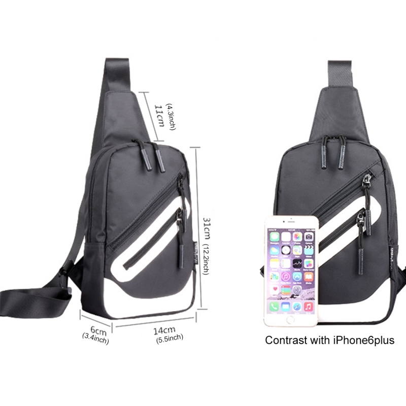 Multi-Function Portable Casual Canvas Black and White Chest Bag Outdoor Sports Shoulder Bag with External USB Charging Interface for Men / Women / Student