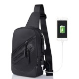 Multi-Function Portable Casual Canvas Black Chest Bag Outdoor Sports Shoulder Bag with External USB Charging Interface for Men / Women / Student