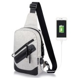 Multi-Function Portable Casual Canvas Light Grey Chest Bag Outdoor Sports Shoulder Bag with External USB Charging Interface for Men / Women / Student