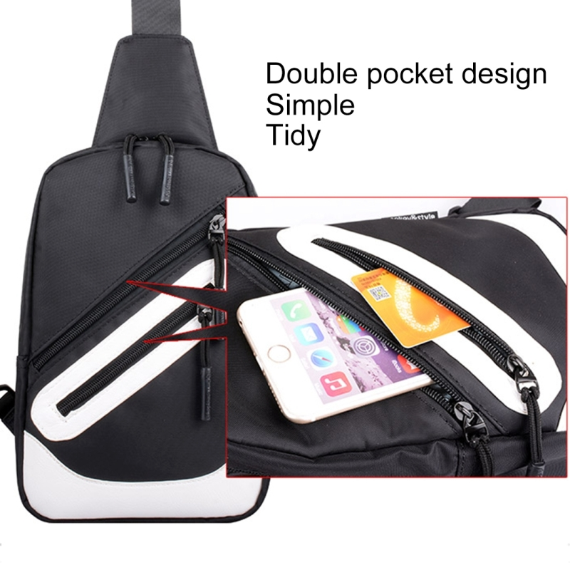 Multi-Function Portable Casual Canvas New York Words Chest Bag Outdoor Sports Shoulder Bag with External USB Charging Interface for Men / Women / Student