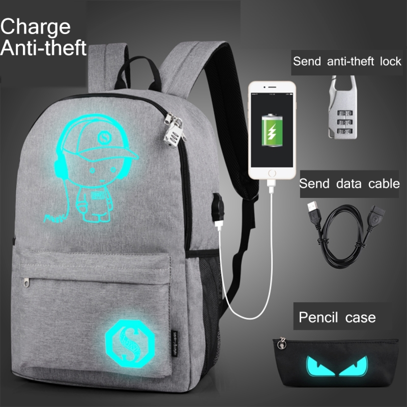 Multi-Function Large Capacity Oxford Cloth Light Grey Music Boy Luminous Backpack Casual Laptop Computer Bag with External USB Charging Interface for Men / Women / Student, L, 48*29*17cm