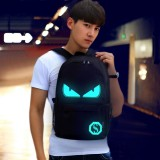 Multi-Function Large Capacity Oxford Cloth Demon Luminous Backpack Casual Laptop Computer Bag with External USB Charging Interface for Men / Women / Student, L, 48*29*17cm