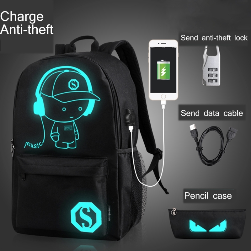Multi-Function Large Capacity Oxford Cloth Black Music Boy Luminous Backpack Casual Laptop Computer Bag with External USB Charging Interface for Men / Women / Student, L, 48*29*17cm