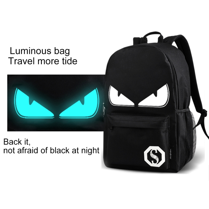 Multi-Function Large Capacity Oxford Cloth Black Music Boy Luminous Backpack Casual Laptop Computer Bag with External USB Charging Interface for Men / Women / Student, M, 43*26*12cm
