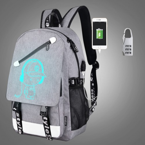 Multi-Function Large Capacity Oxford Cloth Music Boy Grey Backpack Casual Laptop Computer Bag with External USB Charging Interface & Security Lock for Men / Women / Student, 46*30*14cm