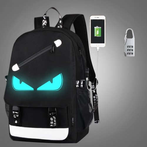 Multi-Function Large Capacity Oxford Cloth Demon Backpack Casual Laptop Computer Bag with External USB Charging Interface & Security Lock for Men / Women / Student, 46*30*14cm