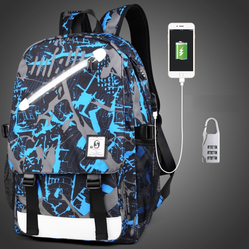 Multi-Function Large Capacity Oxford Cloth Blue and Grey Graffiti Backpack Casual Laptop Computer Bag with External USB Charging Interface & Security Lock for Men / Women / Student, 46*30*14cm