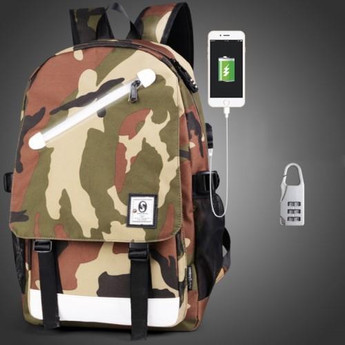 Multi-Function Large Capacity Oxford Cloth Army Green Camouflage Backpack Casual Laptop Computer Bag with External USB Charging Interface & Security Lock for Men / Women / Student, 46*30*14cm