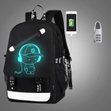 Multi-Function Large Capacity Oxford Cloth Music Boy Black Backpack Casual Laptop Computer Bag with External USB Charging Interface & Security Lock for Men / Women / Student, 46*30*14cm