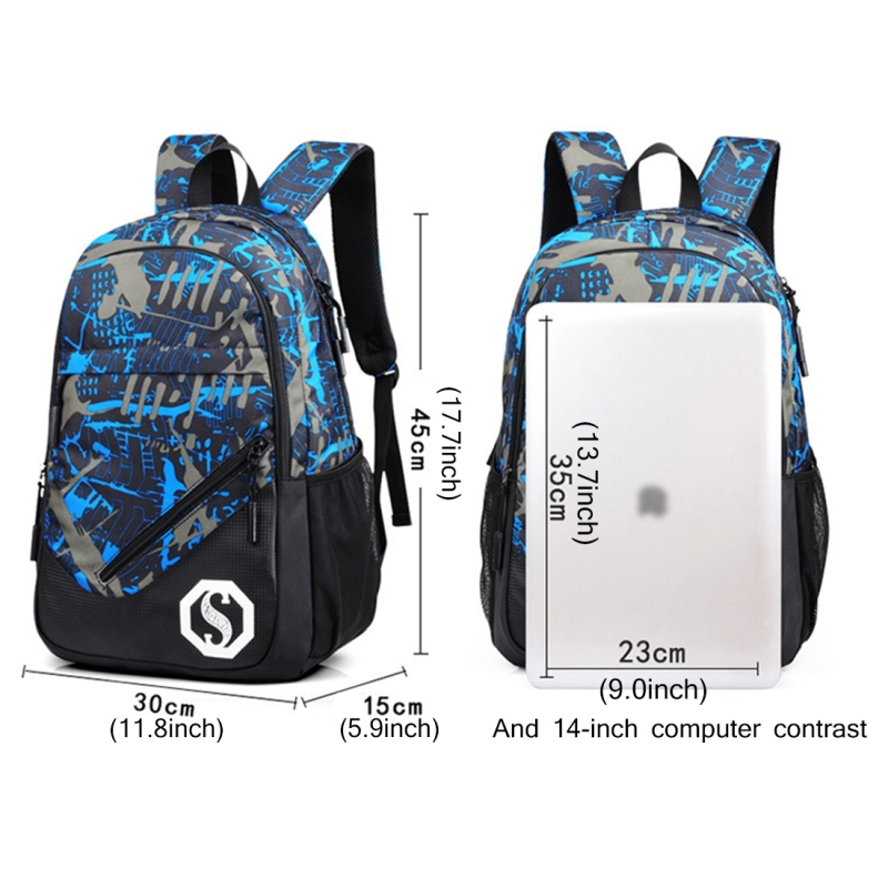 Multi-Function Large Capacity Oxford Cloth Blue Grid Backpack Casual Laptop Computer Bag with External USB Charging Interface & Shoulder Bag & Pen Bag for Men / Women / Student, 45*30*15cm