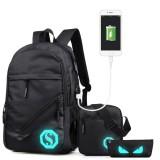 Multi-Function Large Capacity Oxford Cloth Black Backpack Casual Laptop Computer Bag with External USB Charging Interface & Shoulder Bag & Pen Bag for Men / Women / Student, 45*30*15cm