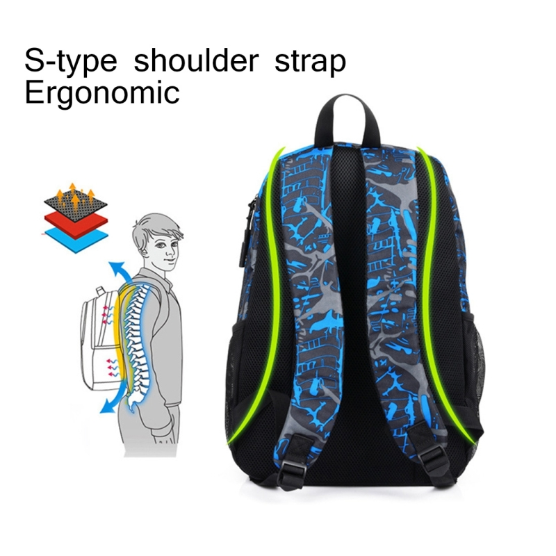 Multi-Function Large Capacity Oxford Cloth Blue and Grey Graffiti Backpack Casual Laptop Computer Bag with External USB Charging Interface & Shoulder Bag & Pen Bag for Men / Women / Student, 45*30*15cm