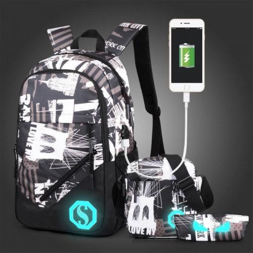 Multi-Function Large Capacity Oxford Cloth New York Words Backpack Casual Laptop Computer Bag with External USB Charging Interface & Shoulder Bag & Pen Bag for Men / Women / Student, 45*30*15cm