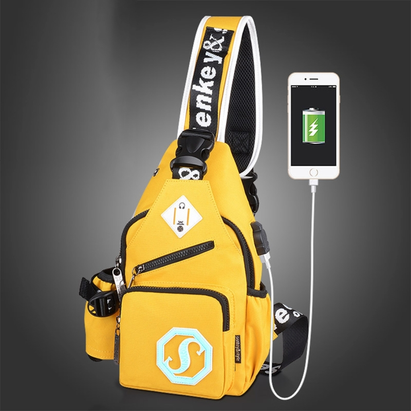 Multi-Function Portable Casual Canvas Chest Bag Outdoor Sports Shoulder Bag with External USB Charging Interface & Water Cup Bag & Earphone Jack for Men / Women / Student, 33*18*9cm