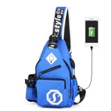 Multi-Function Portable Casual Canvas Blue Chest Bag Outdoor Sports Shoulder Bag with External USB Charging Interface & Water Cup Bag & Earphone Jack for Men / Women / Student, 33*18*9cm