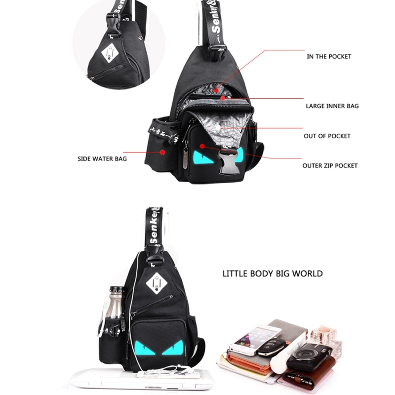 Multi-Function Portable Casual Canvas Sky Blue Chest Bag Outdoor Sports Shoulder Bag with External USB Charging Interface & Water Cup Bag & Earphone Jack for Men / Women / Student, 33*18*9cm