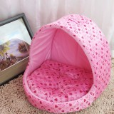 Small Pet Dogs Cats House Creative Yurt Shape Dog House, L, 42*48*48cm (Pink)