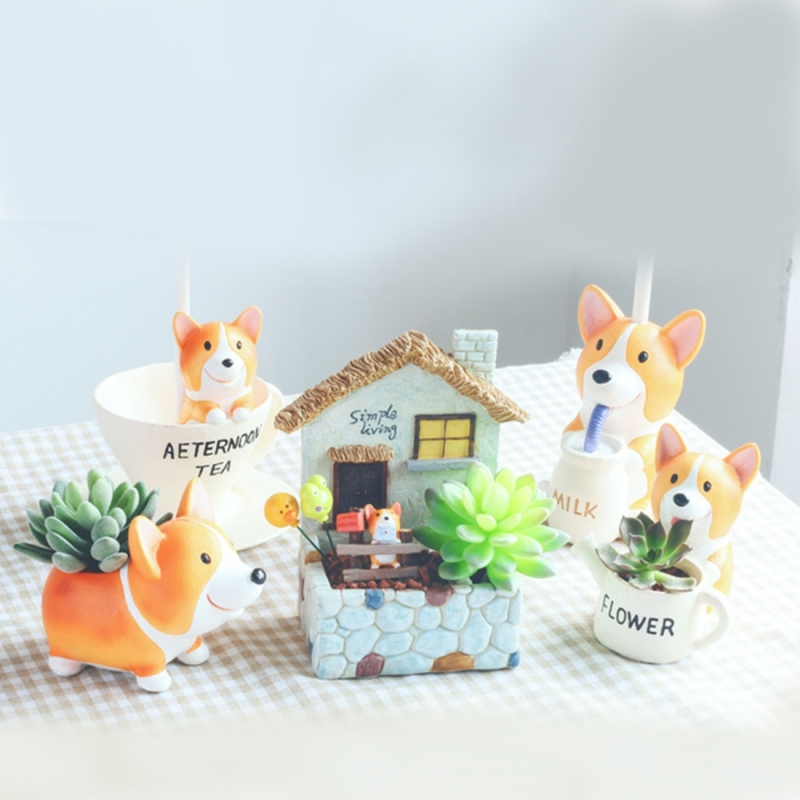 Small Short Leg Kirk Dog Cartoon Multi-meat Plant Pots Office Home Green Plant Ornaments Puppy Flower Pot Glazed Little Small Mini Modern Plant Box Standing Position