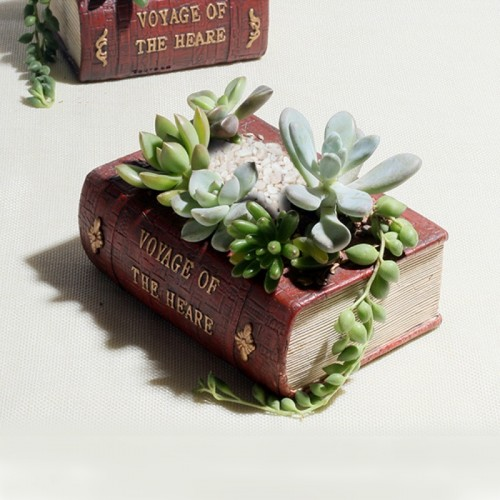 Retro Literature Book Pots Multi-meat Plant Bonsai Micro-landscape Vintage Book Flower Pot Planter for Flower Succulent Cacti Herbs Plant Bed Box Case FlowerPot, 14*10.5*5cm